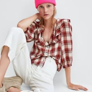 Zara Red Plaid Puff Sleeve Ruffle Button Down Top
